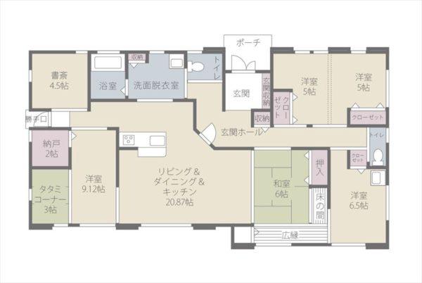 6LDKの46.76坪の平屋