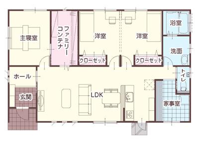 家事室がある30坪3LDK南入り