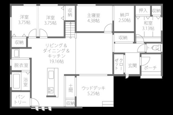 4LDKの35.48坪の平屋