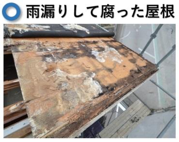 雨漏りして腐った屋根