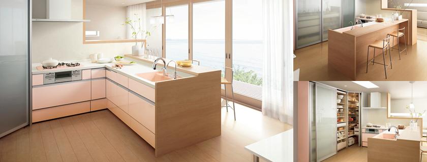 L型対面オープンキッチン