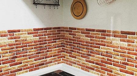 キッチン壁紙リフォームレンガ