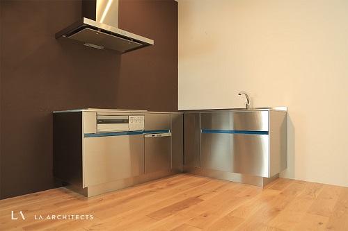 ステンレスL型キッチン