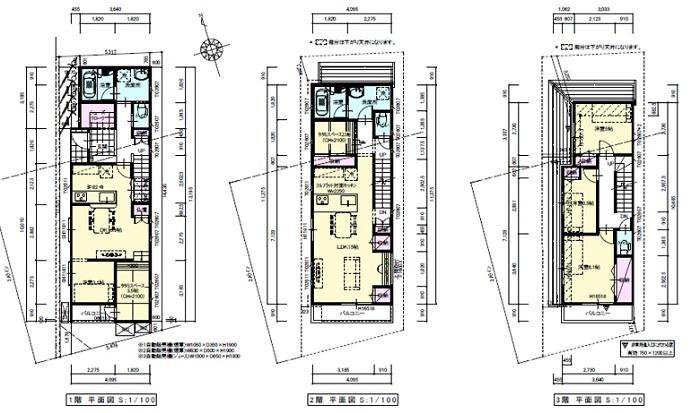 新築25坪3階建ての間取り
