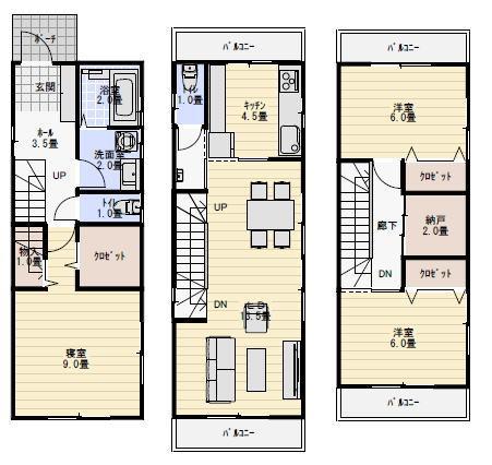 狭小敷地:30坪3ldk3階建ての間取り