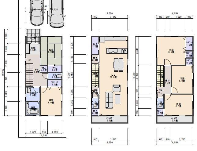 3階建て40坪北入り2.5間の間口のプラン
