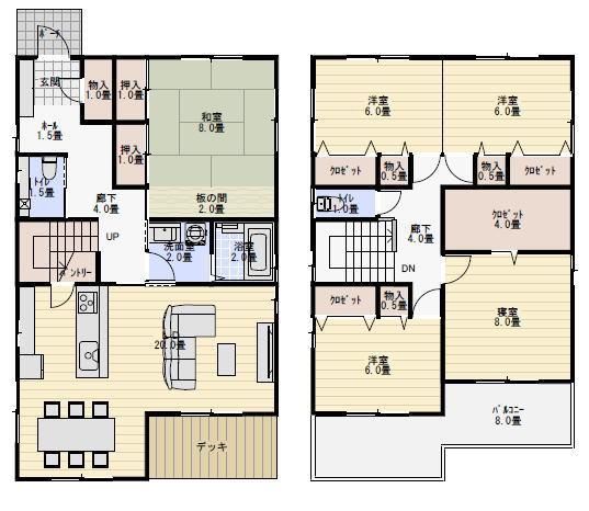 45坪、5LDKの二世帯住宅の間取り