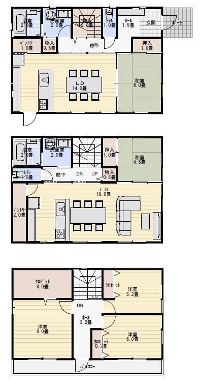 二世帯住宅、3階建て間取り
