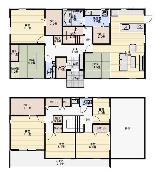 50坪6LDK、玄関共有の二世帯住宅の間取り