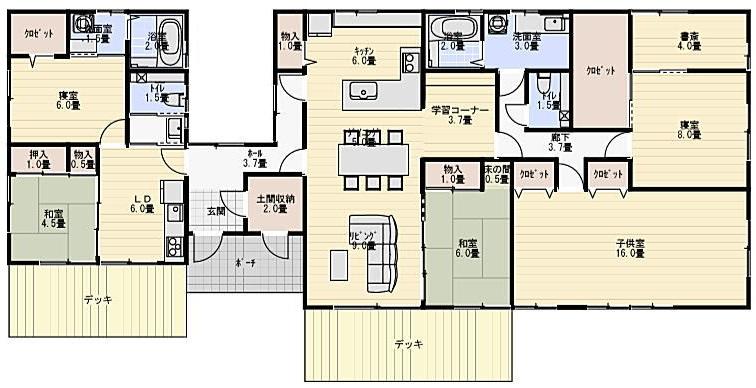 54坪平屋二世帯住宅の間取り
