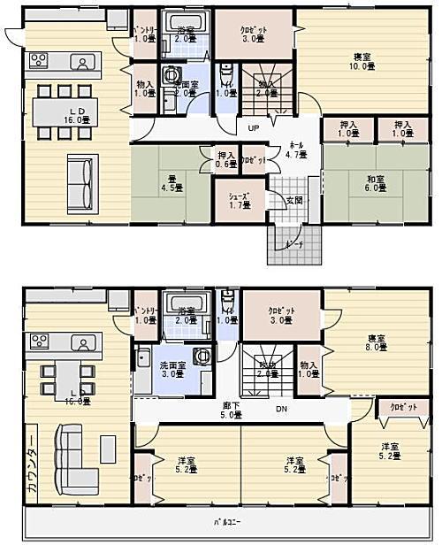 2階建て60坪の二世帯住宅の間取り