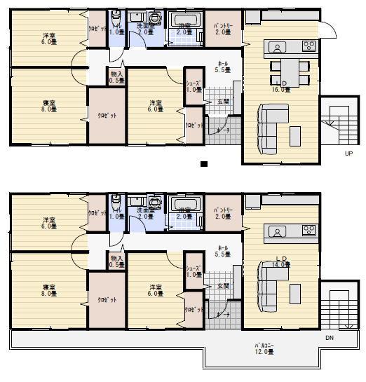 二世帯住宅の間取り2階建て