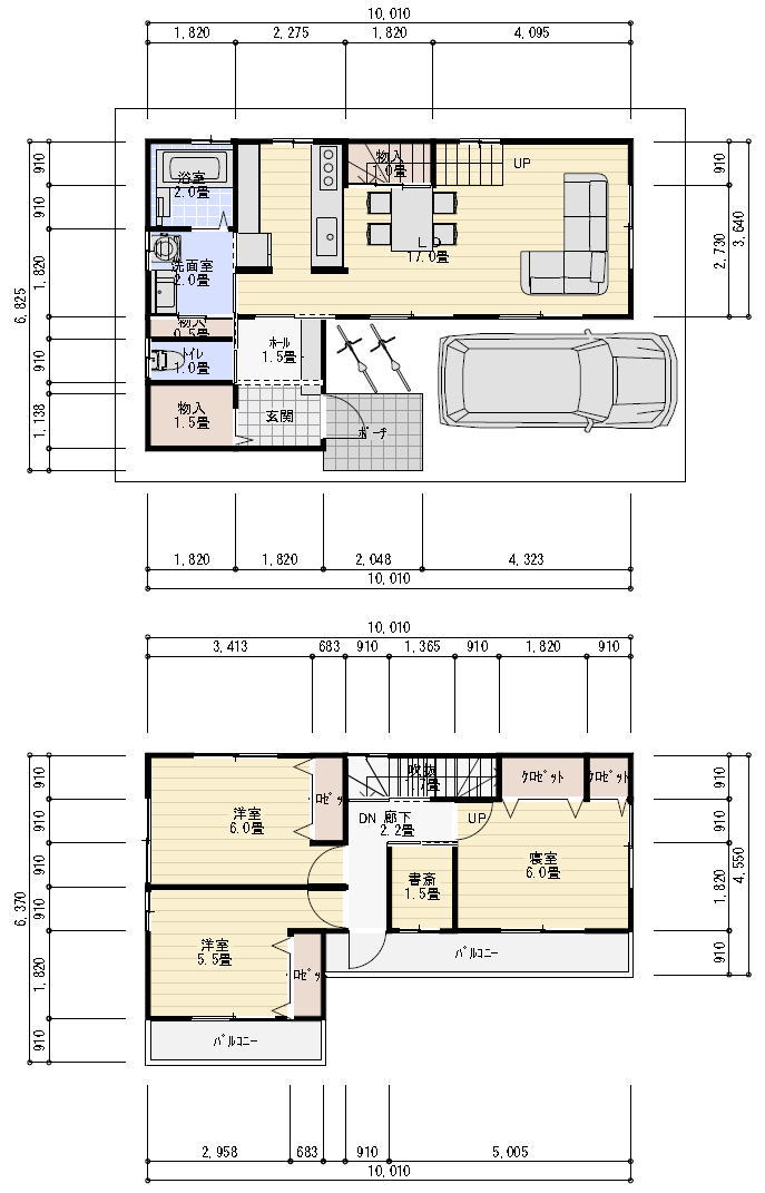 27坪の狭小住宅 間取り例 2階建てプラン