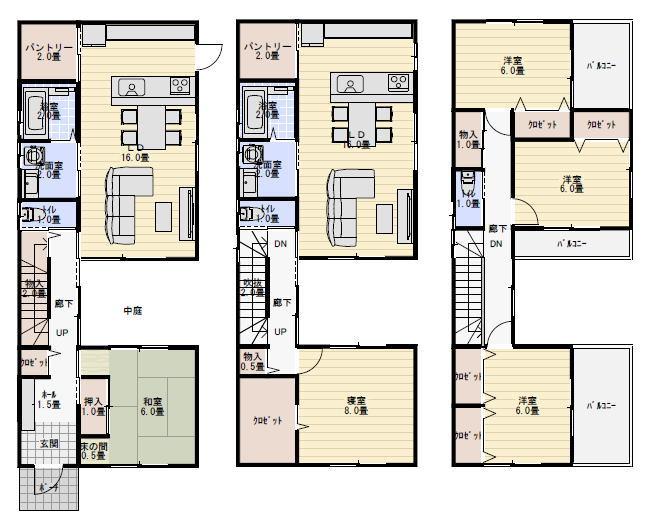 3階建て二世帯住宅の狭小住宅の間取り