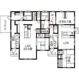 完全分離型の二世帯住宅40坪間取り