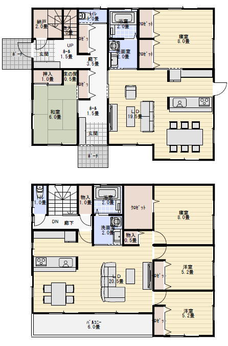 完全分離型二世帯住宅間取り上下55坪