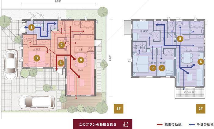 二世帯住宅完全分離型間取り