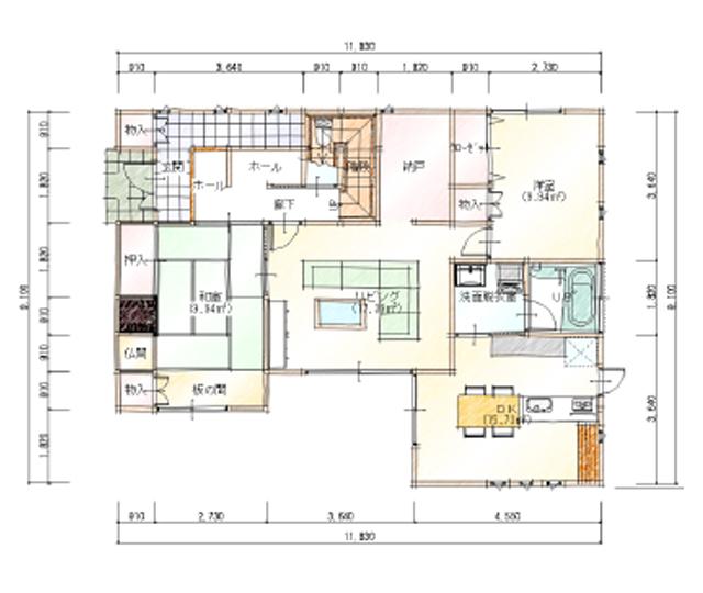 上下分離型50坪二世帯住宅の間取り