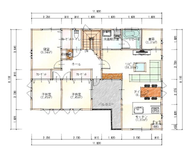 上下分離型二世帯住宅の間取り50坪