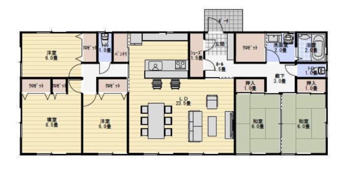 平屋二世帯完全同居